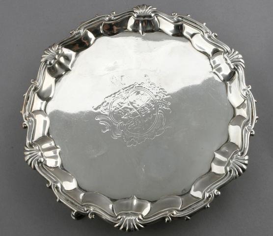 George II silver tripod salver by William Peaston