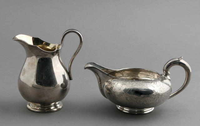 Victorian silver cream pitcher by John S. Hunt, altered