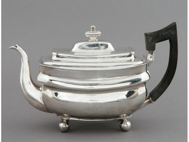 New York silver three-piece tea set by John & Peter Targee