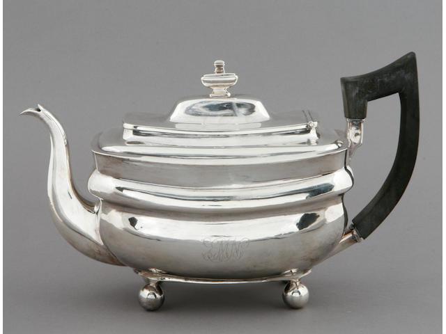 New York silver three-piece tea set by John & Peter Targee