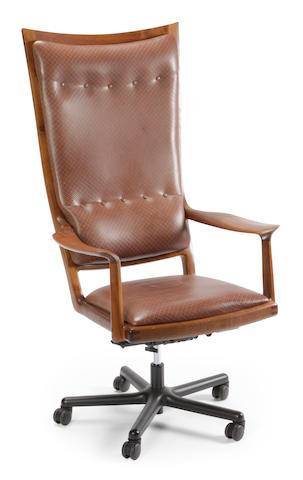 A Sam Maloof ebony inlaid walnut and embossed leather executive swivel chair 1989