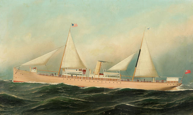 (n/a) Antonio Nicolo Gasparo  Jacobsen (American, 1850-1921), circa 1890 The passenger - freighter Aguan at sea 22 x 36 in. (55.8 x 91.4 cm.)