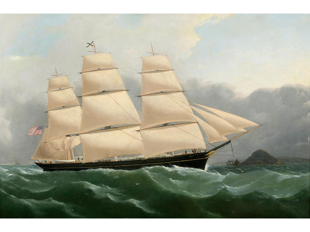 (n/a) Samuel Walters (British, 1811-1882), circa 1852 The Clipper Ship Challenge Arriving off the Coast of England Under Full Sail 24 x 36 in. (61 x 91.4 cm.)