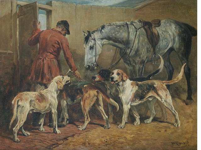 John Emms (British, 1843-1912) The kennels 16 15/16 x 22 1/16 in. (43 x 56 cm.)