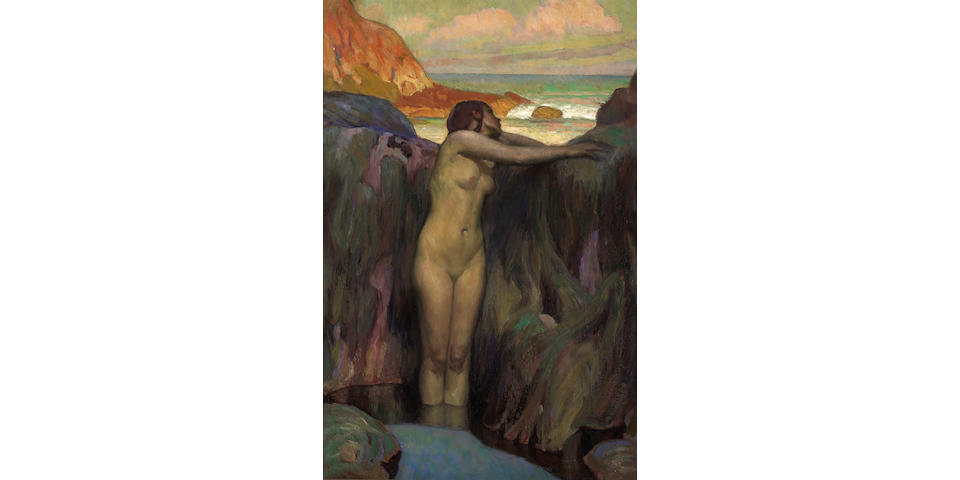 (n/a) Charles Allen Winter (American, 1869-1942) Nude standing in a pool 36 1/4 x 24 1/4in