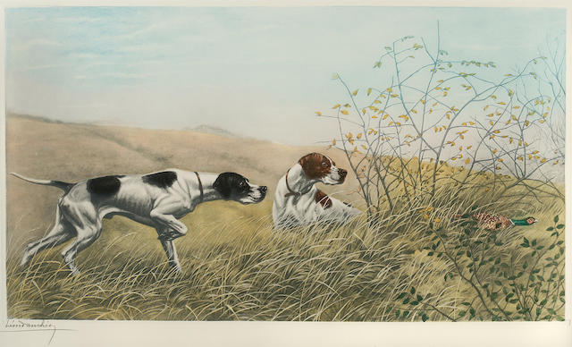 Leon Danchin (French, 1887-1939) Pointers on a pheasant; Two Setters on a moor; Setter chasing a mallard hen in water: three 18 1/4 x 33 in. (46.4 x 83.7 cm.) <br> 14 1/2 x 26 1/2 (36.7 x 67.3 cm.) <br>8 3/4 x 14 in. (22.2 x 35.6 cm.)
