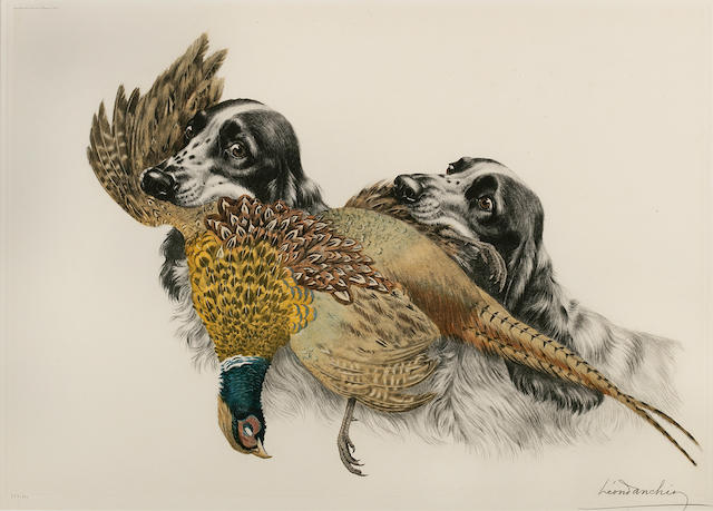 Leon Danchin (French, 1887-1939) On point; Spaniels sharing a pheasant; Mallards heading in 18 7/8 x 25 1/4 in. (47.8 x 64.2 cm.) <br>17 1/2 x 25 1/4 in. (44.4 x 64.2 cm.) <br>17 x 22 1/4 in. (43.2 x 56.5 cm.)
