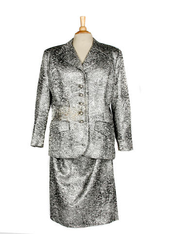 A Galanos silver and black skirt suit