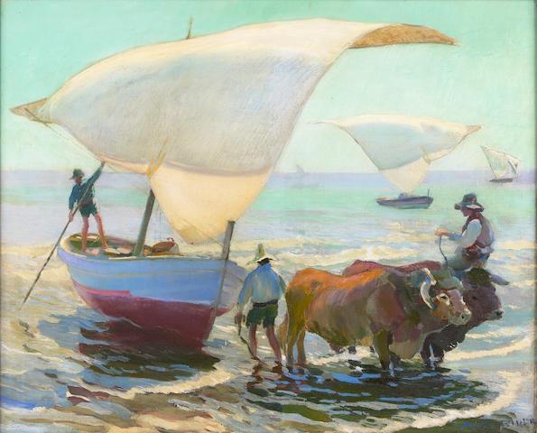 Arthur Grover Rider (American, 1886-1975) Spanish Boats 26 x 32in