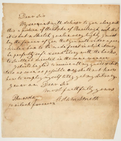 "Smith, Adam. Autograph Letter Signed (""Adam Smith""), [Paris, c 1766?] Concerning moving his books and a picture of the Duke of Buccleuch back to Scotland. Some wear, few tiny chips and repairs."