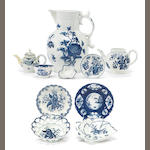 A group of Bow, Worcester, Liverpool and Caughley porcelain <br>circa 1760-80