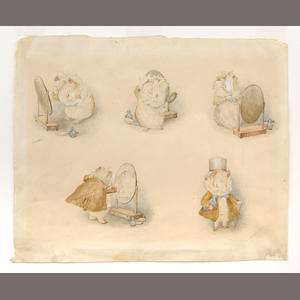 POTTER, BEATRIX. A series of 5 vignettes of the amiable guinea pig. Orig. watercolor.