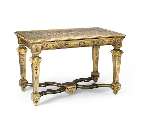 A Louis XIV gilt bronze mounted tortoiseshell and boulle center table
