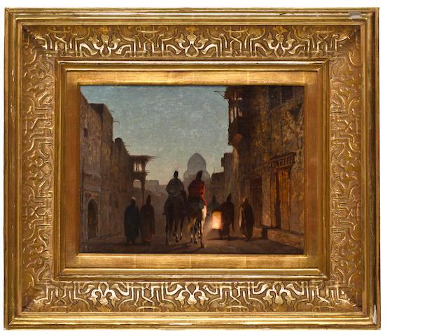 Alberto Pasini (Italian, 1826-1899) Street scene by lantern light