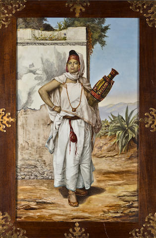 A Porcelain Plaque painted by Elizabeth Jacobber (Dutch, 19th Century) Algerian woman carrying a jug