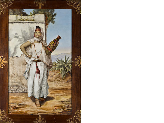 Algerian woman with a vase porcelain plaque