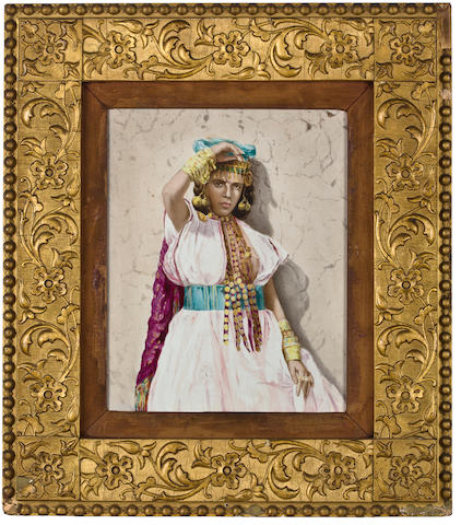 Morrocan woman in the desert sun porcelain plaque 11 3/4 x 9 3/4in
