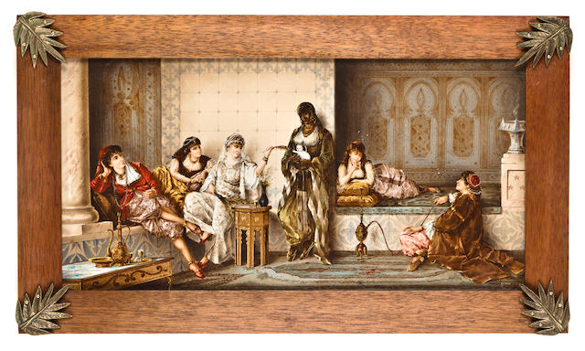 sitting in the harem- entertained by the kitten porcelain plaque by Gerard
