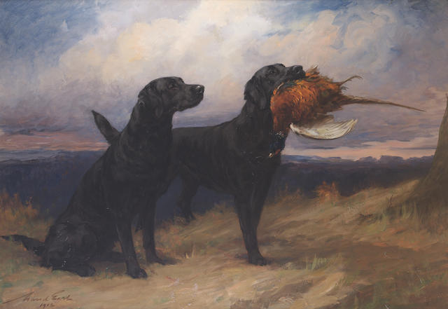Maud Earl (British, 1864-1943) Portrait of the Black Labrador 'Peter of Faskally' holding a cock pheasant, with his mate 'Dungavel Jet' in a landscape 45 11/16 x 65 3/4 in. (116 x 167 cm.)