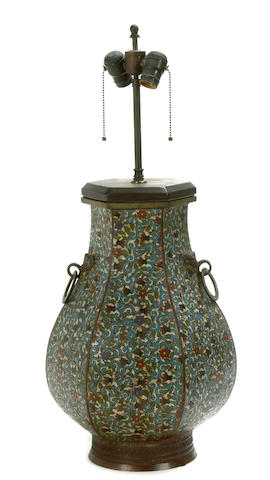 A Chinese hexogonal section cloisonne vase, now mounted as a lamp