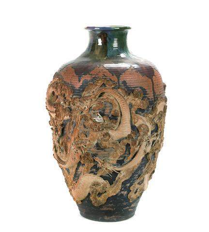 A Japanese Sumidigawa glazed ceramic vase