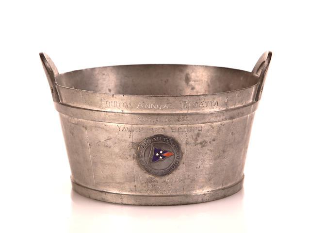 A pewter trophy for the Edgartown Yacht Club 4th Annual Regatta<br> circa 1928 6 x 6-3/4 in. (10.1 x 17.1 cm.) 2