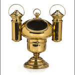 A small fancy brass yacht binnacle<br> 20th century 12 x 11 in. (30.4 x 27.9 cm.)