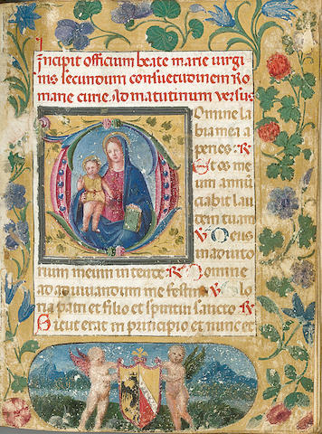 [BOOK OF HOURS.] Illuminated Latin manuscript on vellum. [Italy: last third of the 15th century.]