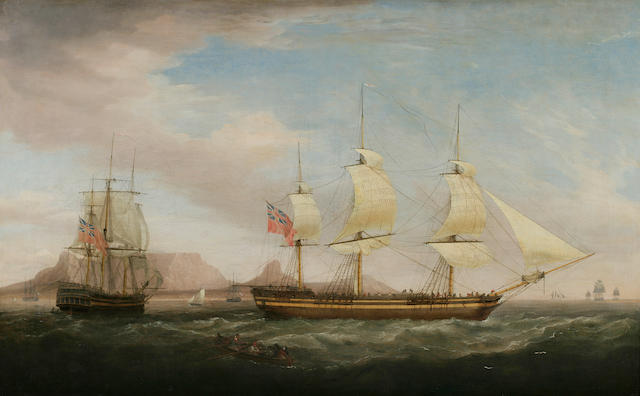 Dominic Serres (1722-1793) A British East Indiamen in Two Positions off Dover 36 x 58-1/2 in. (