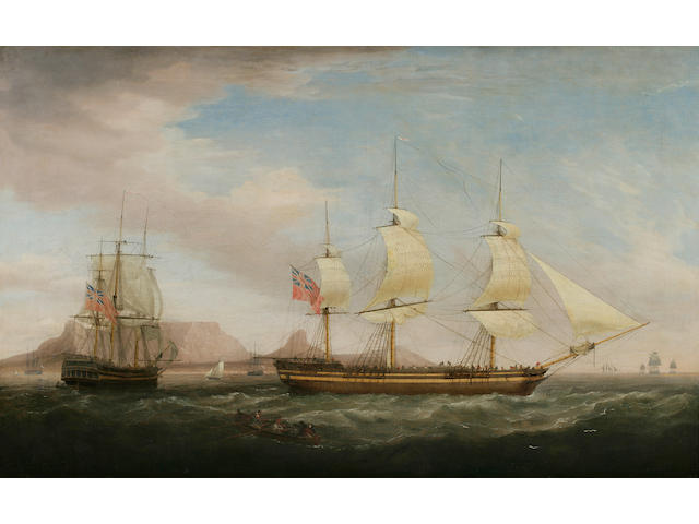 (n/a) Dominic Serres (1722-1793) A British East Indiamen in Two Positions off Dover 36 x 58-1/2 in. (