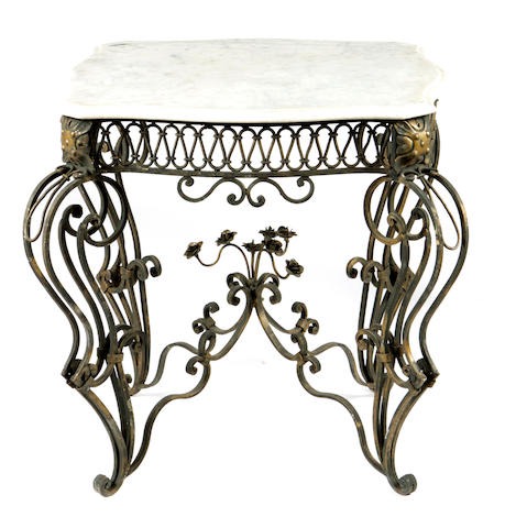 A pair of Renaissance style wrought iron and marble tables