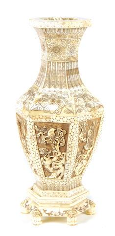A pair of Chinese bone veneered vases