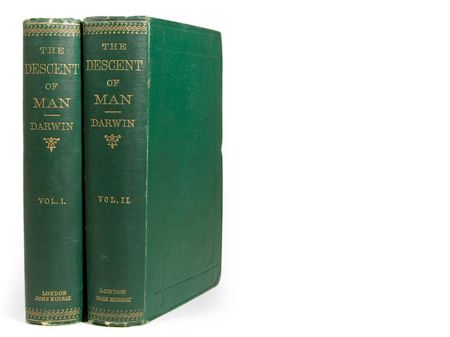 DARWIN, CHARLES. The Descent of Man. L: 1871. 2 vols. Green cloth. 1st edition.