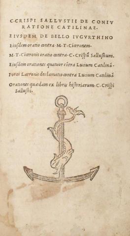 SALLUSTIUS CRISPUS, CAIUS. Opera. Venice: Aldus, 1509.