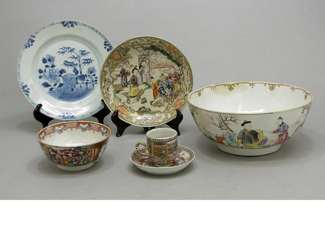 Six pieces of Chinese export porcelain