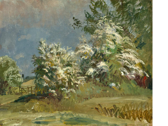 Sir Alfred James Munnings (British, 1878-1959) May Blossoms oil on panel 20 1/2 x 24