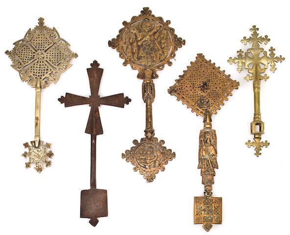 Five Ethiopian brass crosses