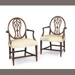 A pair of George III mahogany armchairs<br>late 18th/early 19th century
