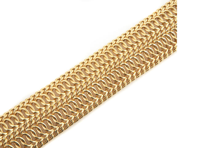 A collection of 14k gold bracelets