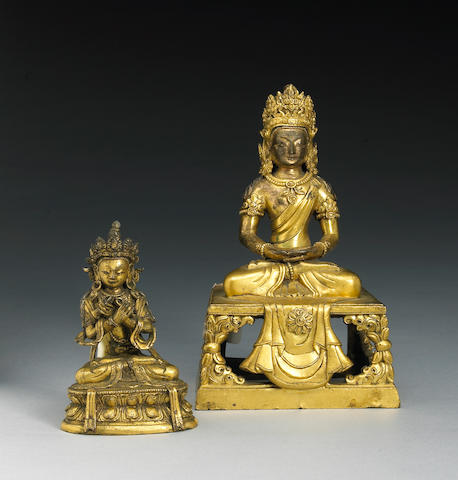 Two Tibeto-Chinese gilt bronze figures 18th Century