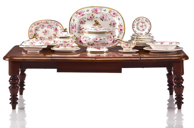 A Copeland Spode printed and painted soft paste porcelain miniature table service and a William IV style mahogany salesman's sample extension dining table circa 1900