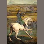 Manner of George Stubbs: Hutsman on a grey horse