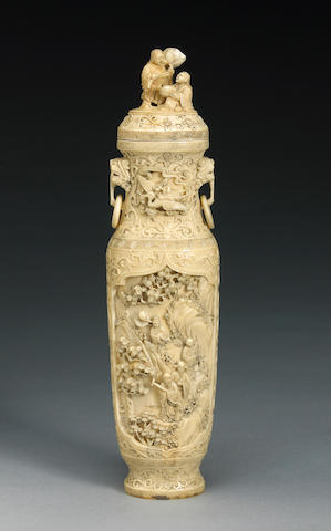 A carved ivory vase with figural decoration Late 19th Century