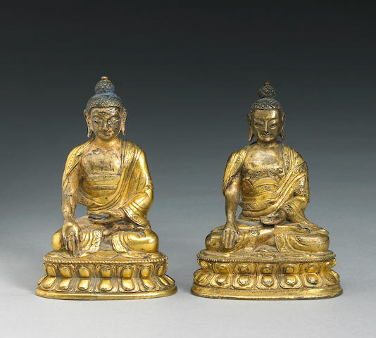 Two Tibeto-Chinese gilt bronze miniature statues of Shakyamuni 18th/19th Century