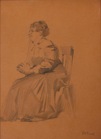 (n/a) Charles A. Fries (American, 1854-1940) Seated woman 12 x 9in