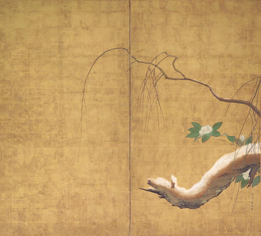 Hasegawa Totetsu (ca. 1675): Willow and Camellias