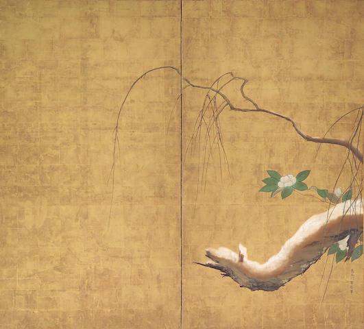 Hasegawa Totetsu (ca. 1675): Willow and Camellias