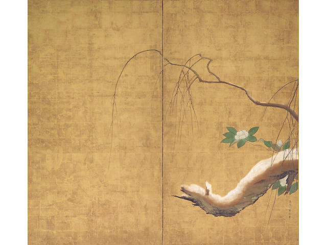 Hasegawa Totetsu (fl. 17th c.) Willow and camellia