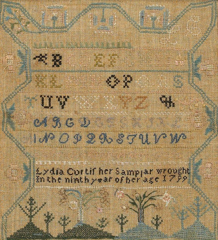 An American silk and linen needlework alphabet sampler Lydia Curtis dated 1799