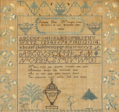 Sampler Lorinda Dike, 1834